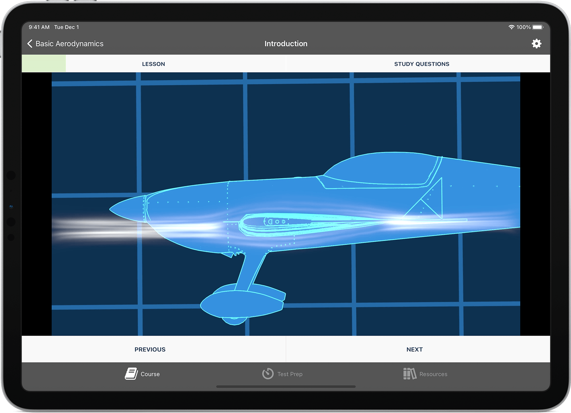 Ground School app lesson screen showing CG animation of airflow over an airplane wing