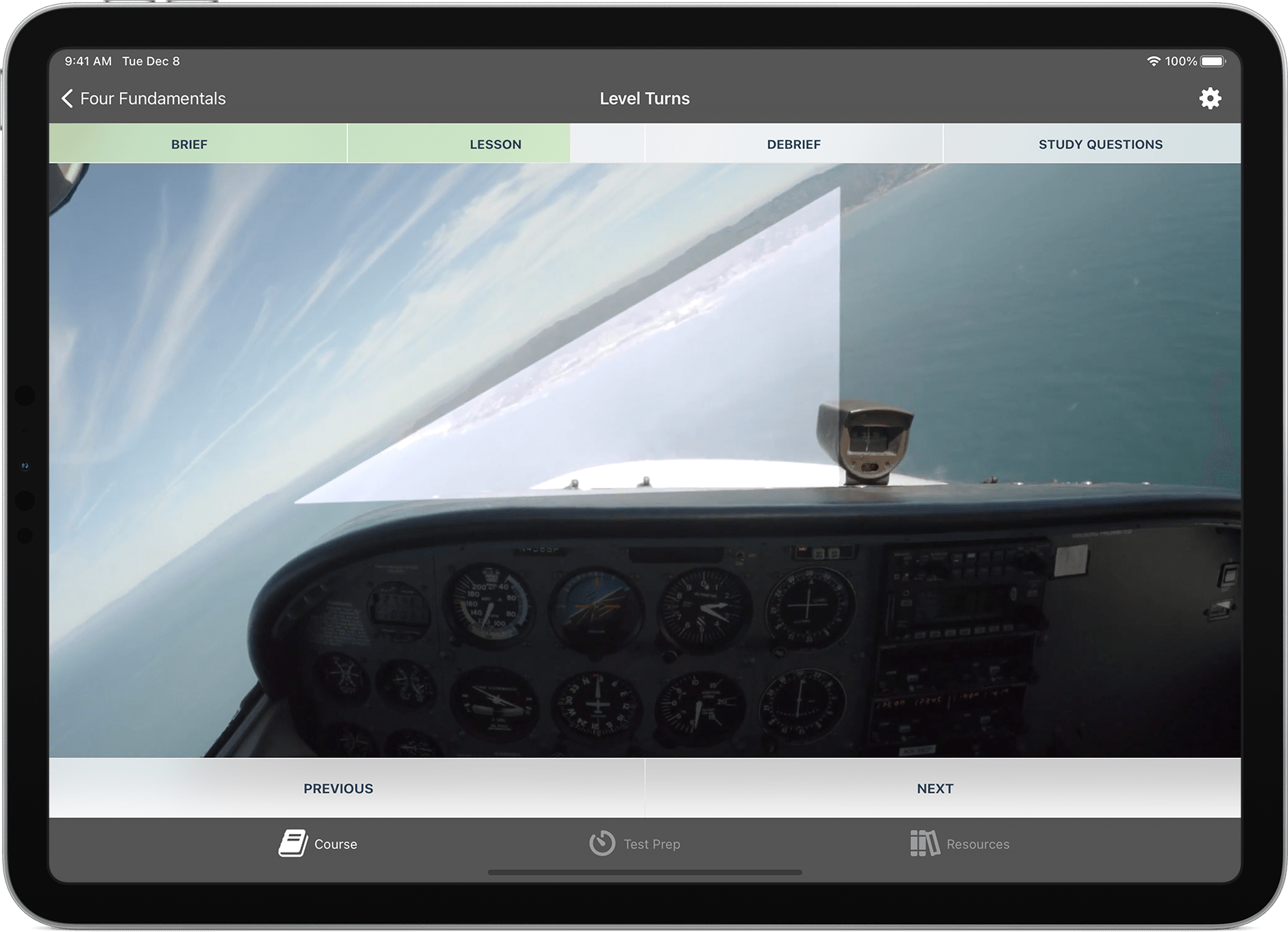 Ground School app lesson video showing in-cockpit pilot's eye view over instrument panel